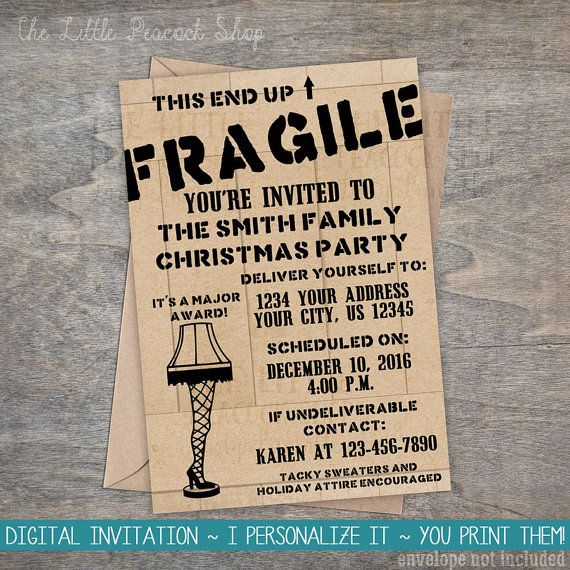 A Christmas Story Invitation Leg Lamp by TheLittlePeacockShop