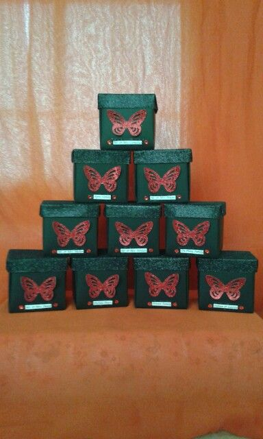 NLW Crafts glitter butterfly exploding box 21st invitations