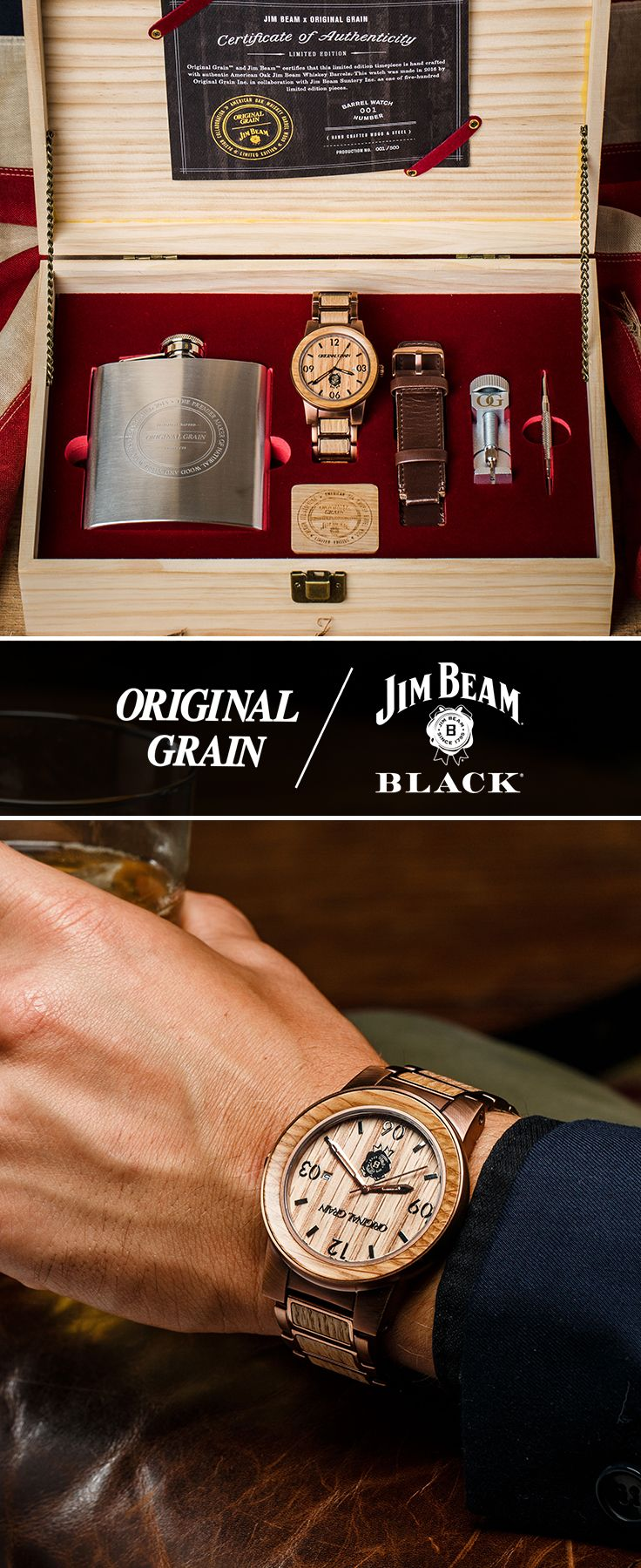 The Gentleman's Kit - Original Grain / Jim Beam Black Collaboration. Limited Edition Hand Crafted Watches With Reclaimed Jim Beam® Bourbon Barrels.