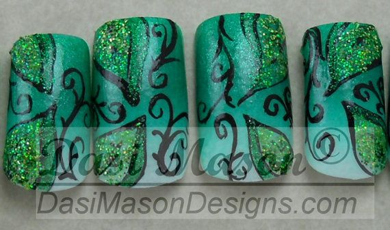 Gradient Green Glittery Leaves Instant Acrylic Nail Set on Etsy, $12.00