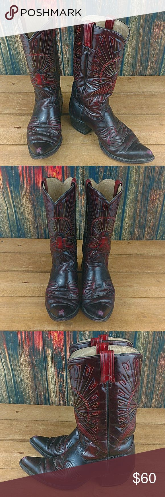 SEARS PEACOCK STITCHED RED WESTERN COWBOY BOOTS VINTAGE SEARS MENS PEACOCK STITCHED RED WESTERN COWBOY BOOTS  US 10.5   GOOD CONDITION WITH SOME SCUFFS ON THE TIPS AND SOME WEAR ON THE SOLES. SEE PICTURES  #1434 Sears Shoes Cowboy & Western Boots