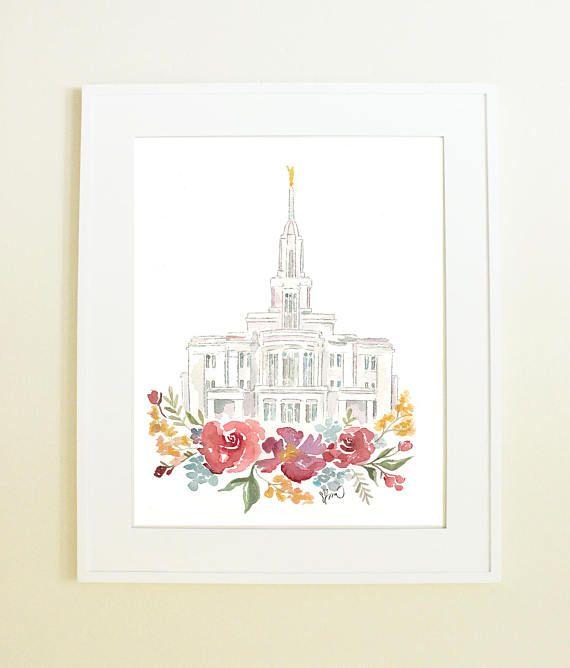 Payson Utah Temple Watercolor Print