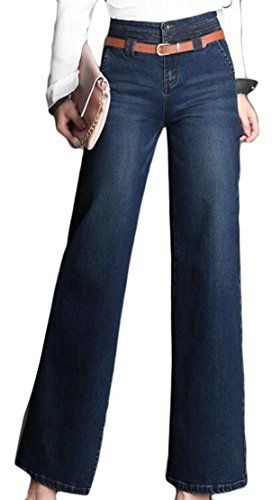 94eeb4da3d8 ainr Women Retro Straight Classic Washing Leisure Cotton Pure Color Wide  Leg Denim Pants
