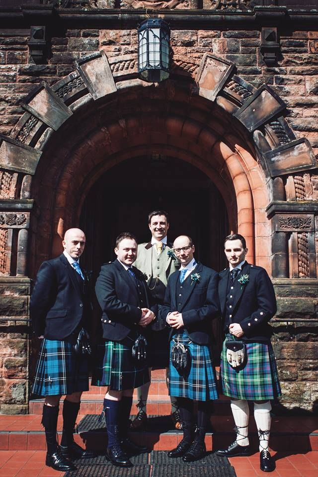 Alasdair pictured here at Pollokshields Burgh Hall with his groomsmen, 2 of which hired our Blue Ramsay tartan kilts and our exclusive Glen Orchy Black kilt jacket and waistcoats. #macgregorandmacduff #kingsofkilts #alasdairandclare #scottish #wedding #macgregorandmacduffweddings #tartan #highlandwear