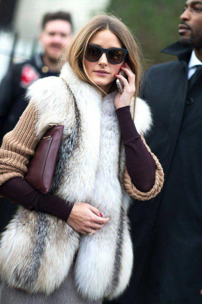 veste sans manche femme en fourrure blanche