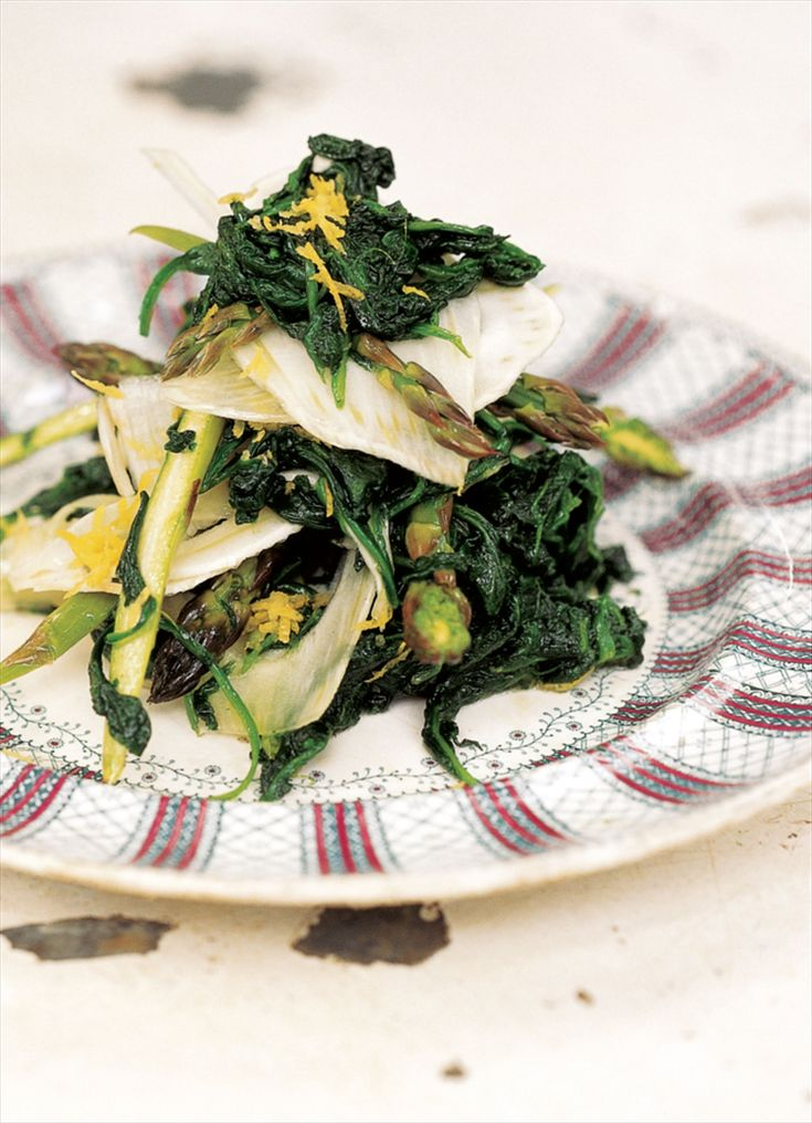 Spinach, fennel and asparagus salad recipe from A Year In My Kitchen by Skye Gyngell | Cooked.com