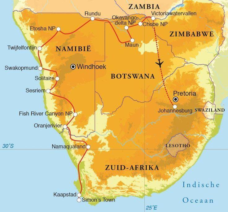 Fantastische route, geweldige reis! Zuid-Afrika, Namibië, Botswana én de Victoria Watervallen, in 24 dagen, met Djoser. Deze avontuurlijke kampeerrondreis beleef je midden in de natuur: de kampeerterreinen bevinden zich vaak ín de nationale parken zoals Sossusvlei, Ethosha en Chobe.