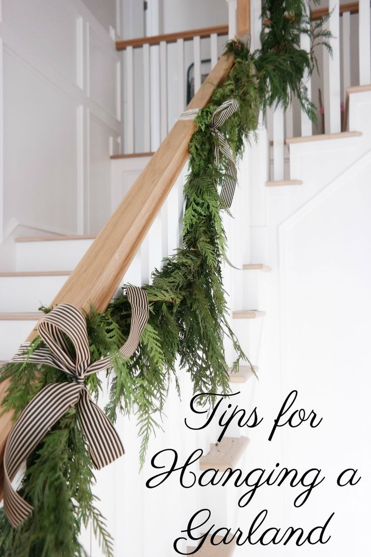 Tips For Hanging Garland Christmas Staircase Decor Christmas Staircase Christmas Stairs Decorations