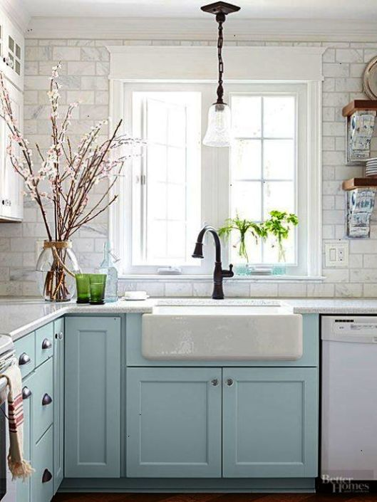 blue kitchen sink affordable remodel cozy cottage style decor ideas dagmar s home dagmarbleasdale com like the marble cabinets and farmhouse