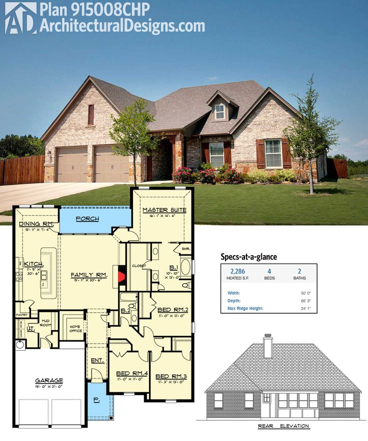 Architectural Designs House Plan 915008CHP gives you over 2,200 square feet of one-level living with an open layout and a back porch. Ready when you are. Where do YOU want to build?