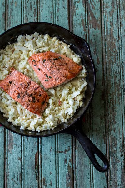 Thyme-Rubbed Salmon with Cauliflower Risotto from Sidewalk Shoes
