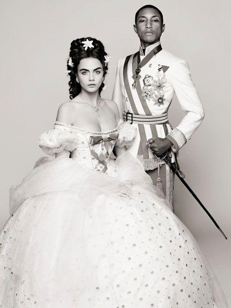 Für die Métiers d'Art-Show in Salzburg inszeniert Karl Lagerfeld Cara Delevingne und Pharrell Williams als österreichisches Kaiserpaar