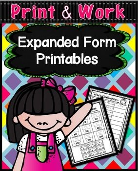 Expanded Form Worksheets, Standard Form and Written Form Printables (50 Pages)These printables are included in a BUNDLE set.  Along with my place value and fact families printables!  Please check it out by clicking the link below;MATH COMMON CORE PRINTABLES BUNDLEDo your students need practice learning about expanded form, then this 50 page set of Expanded, Standard, and Written Form Printables are just what you need.