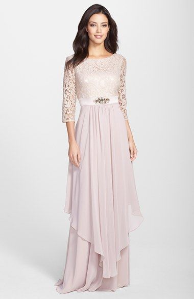 Eliza J Embellished Lace & Chiffon Gown available at #Nordstrom