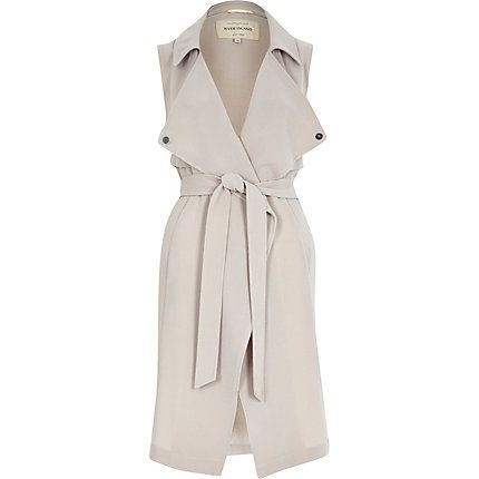 Grey crepe sleeveless trench jacket as seen on I dress myselff £65 #riverisland #bloggerstyle