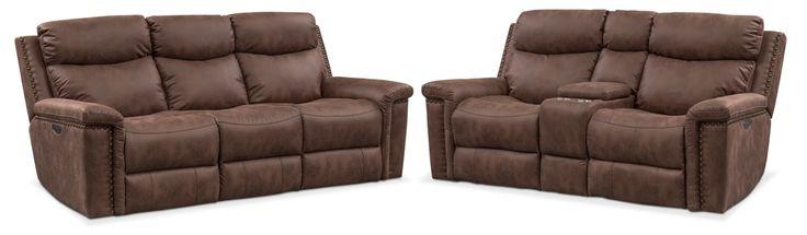 Montana Dual Power Reclining Sofa And Reclining Loveseat Set - Brown