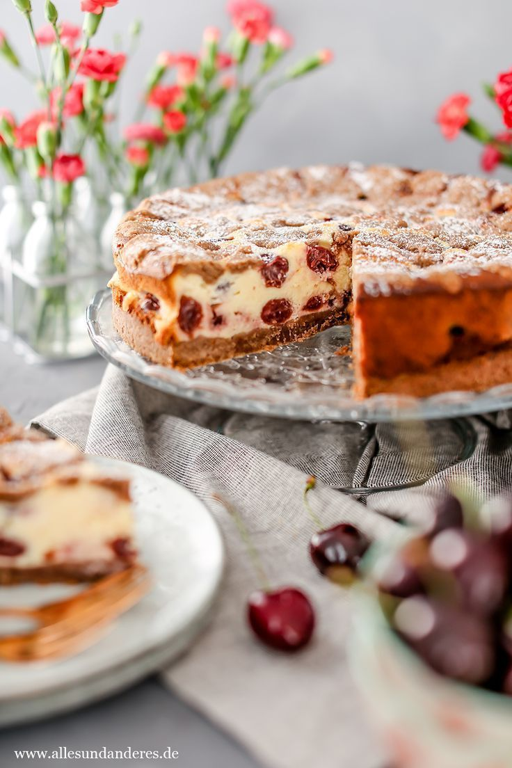 Sommerlicher Kirsch Quark Kuchen Mit Schokotupfen Kuchen Mit Kirschen Streuselkuchen Mit Kirschen Kuchen