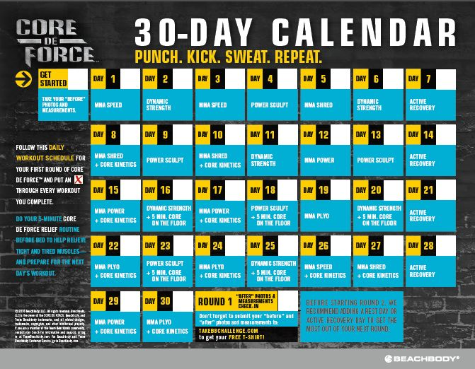 Core De Force Calendar, Core De Force Workout Schedule