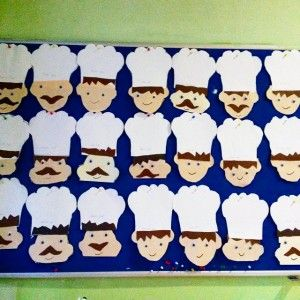 Cut out chef hats and have kids decorate and write their name in the middle.