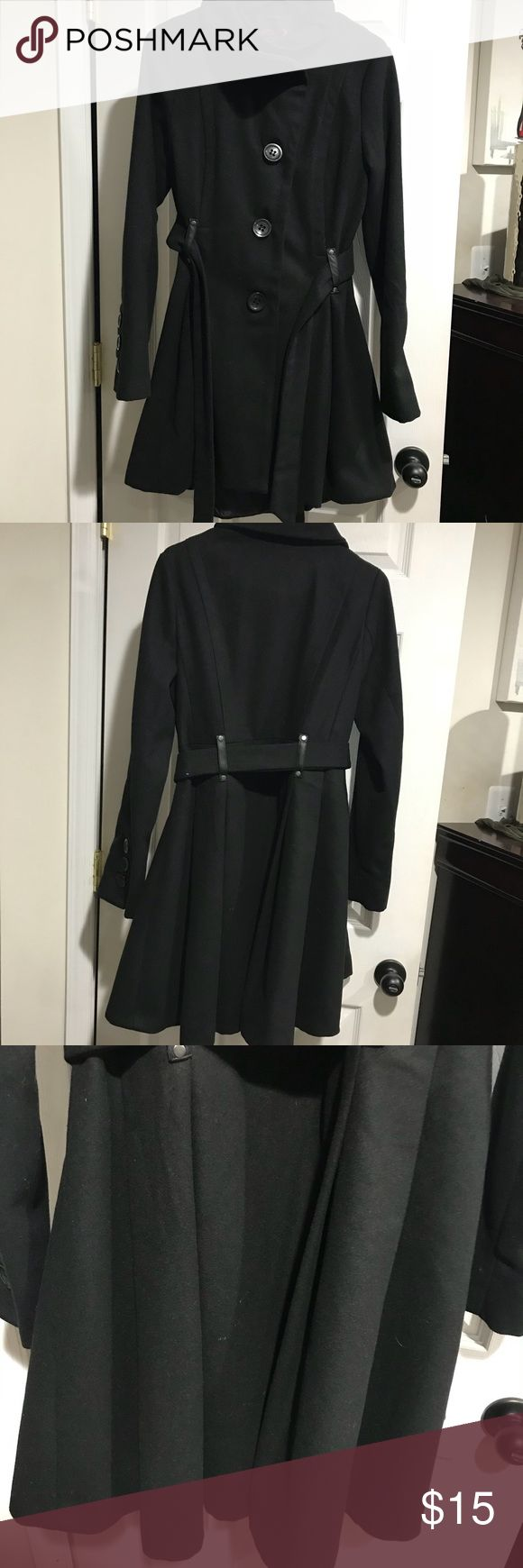 Black long pea coat with belt Black pea coat with large button accents, belt and pleats at bottom. This is a longer length coat. Size medium. Only worn once to a wedding. Longer length and pleats look great for a formal event in colder weather. Jackets & Coats Pea Coats