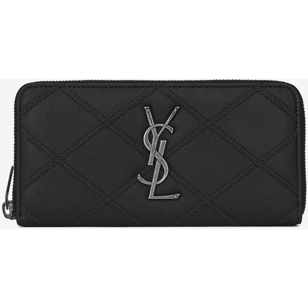 Saint Laurent College Zip Around Wallet (£700) ❤ liked on Polyvore featuring bags, wallets, zip around wallet, yves saint laurent, yves saint laurent bags, yves saint laurent wallet and stitch wallet