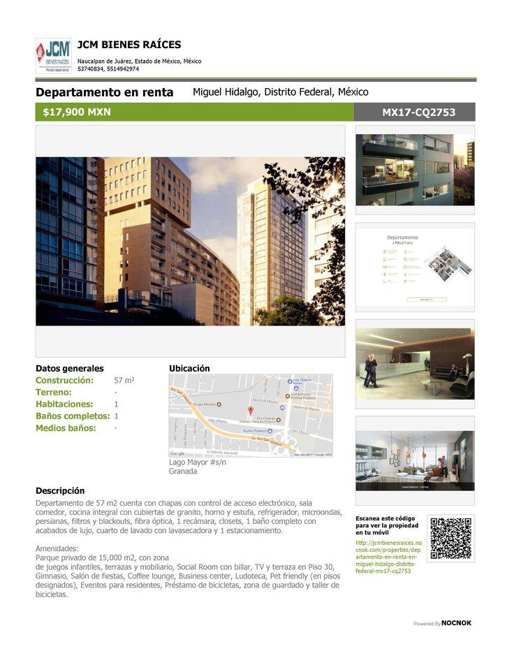 MX17-CQ2753 Departamento en renta Granada, Miguel Hidalgo, Distrito Federal, México $17,900 MXN Oficina: (55) 53740834