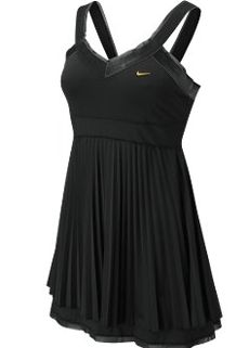 Nike tennis dress w/ pleated empire waist skirt and velvet trim neckline. In black or white.