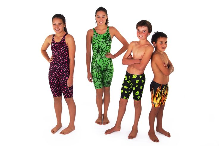 Agonswim competition swim skins, Balck with pink stars, Lime spider web, Aliens jammers and Flames jammers available at www.swimspiration.co.nz