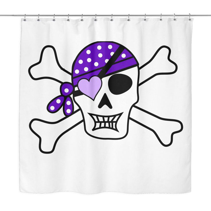 Purple Pirate Jolly Roger Shower Curtain for Childrens Bathroom