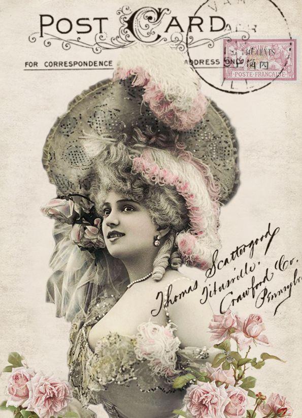 Arlette Dorgère vintage postcard digital collage p1022 free to use <3