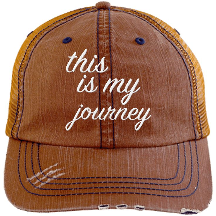 This is My Journey Distressed Trucker Cap
