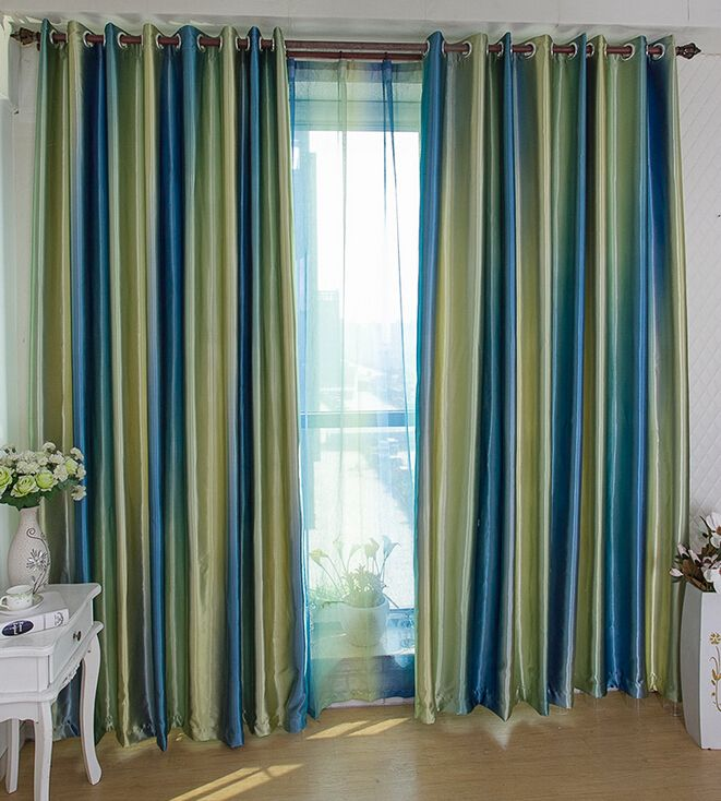 Elegant Designer Royal Blue Insulated Window Curtain By Print Blackout