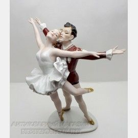 Антикварная фарфоровая статуэтка, Балетный дуэт, балет, Wallendorf, Германия, антикварный магазин