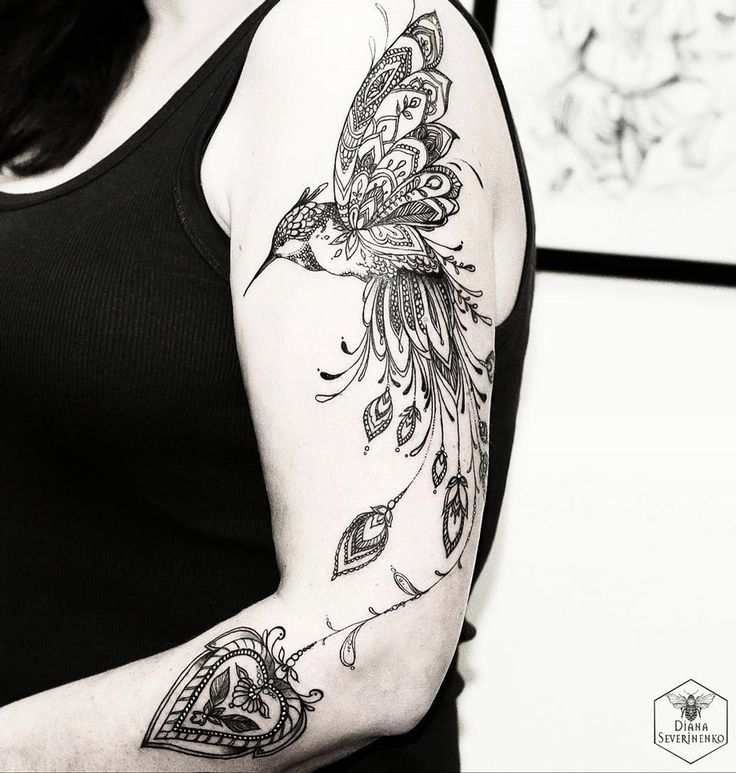 Ornamental Hummingbird http://tattooideas247.com/ornamental-hummingbird/