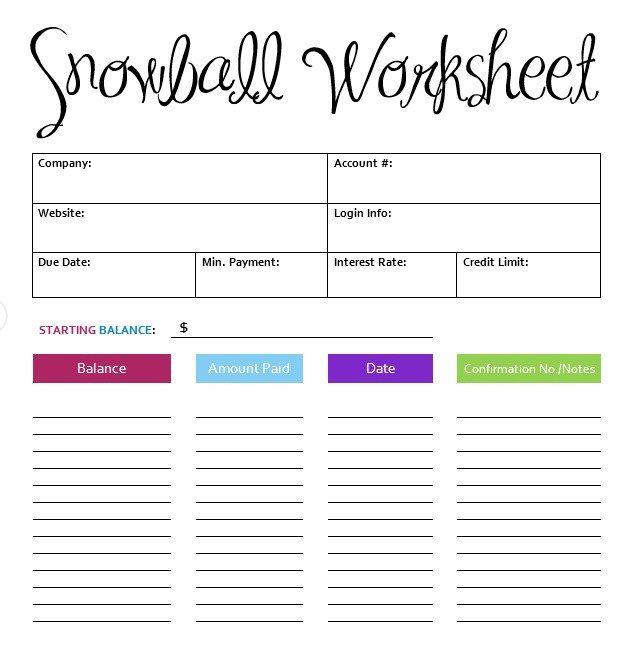 snowball budget template