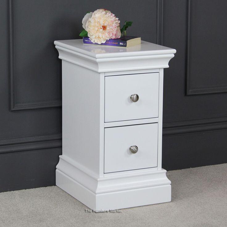 Chelsea White Painted Slim 2 Drawer Narrow Bedside