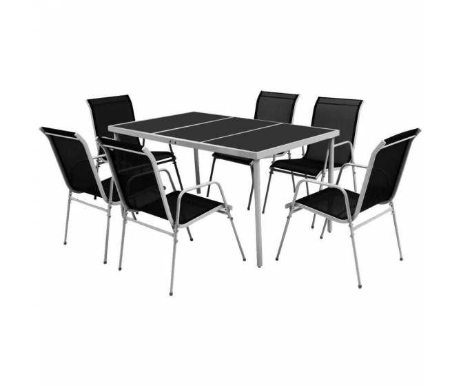 Salon extérieur Podra 7 pcs Noir et Gris | Outdoor dining ...
