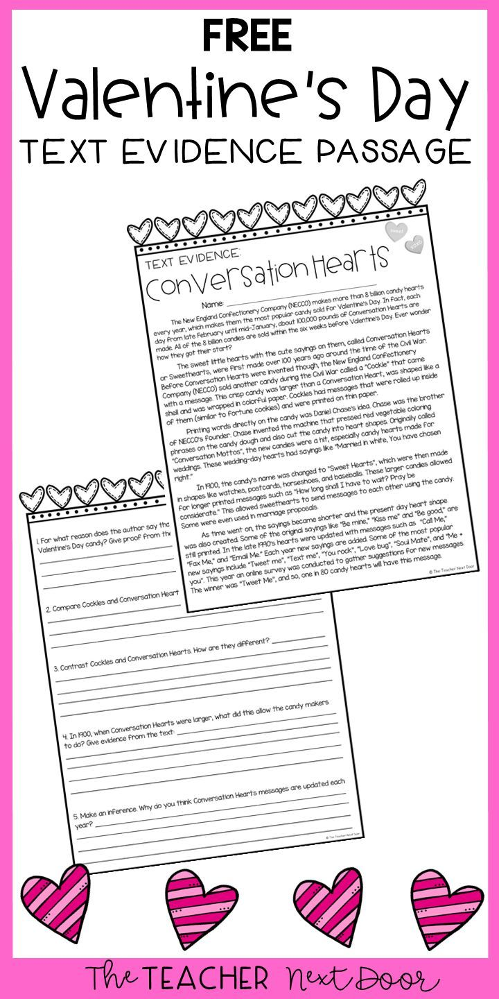 Free Valentine S Day Passage Text Evidence Valentine Reading Reading Worksheets