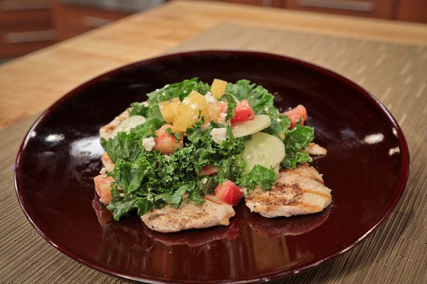 the chew | Recipe  | Michael Symon's Chicken With Kale, Cucumber And Tomato Feta Salad