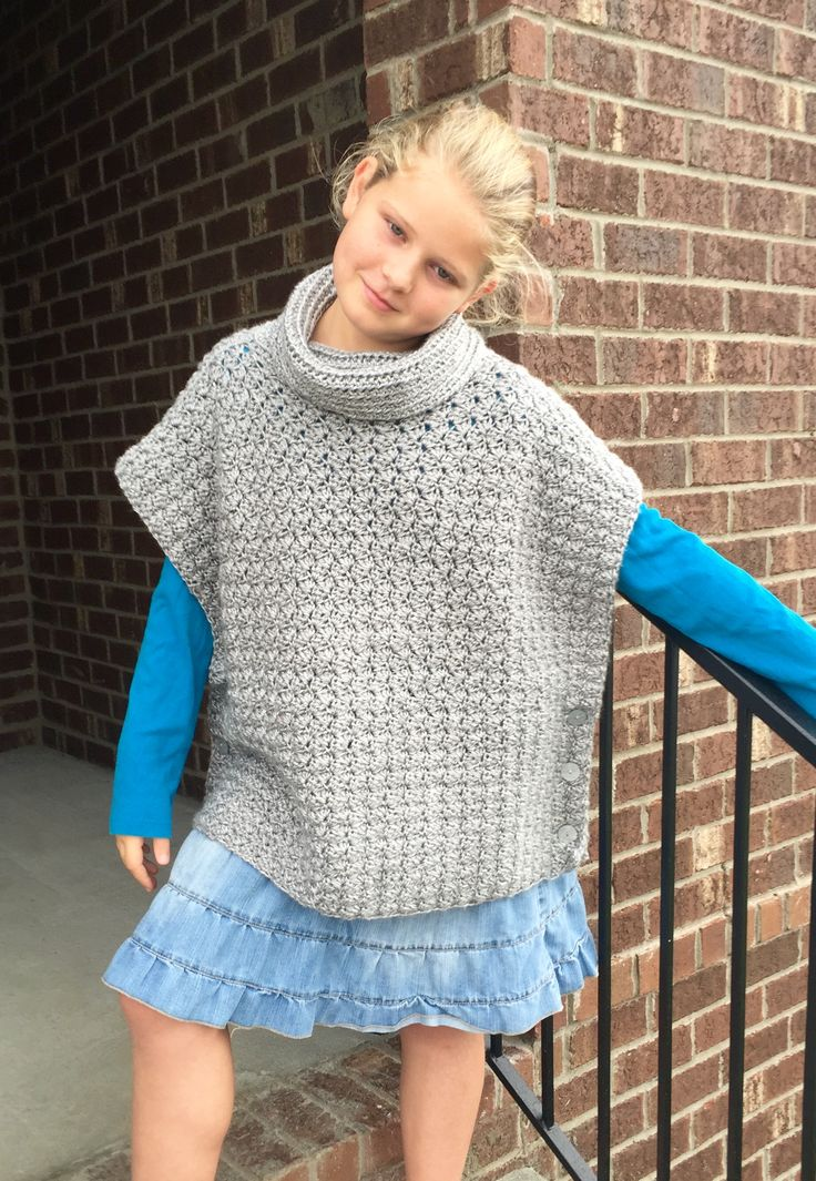 fiona poncho with cowl crochet pattern by Little Monkey's Designs.