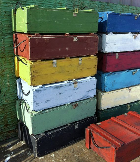 Rustic Wooden Storage Chests - Trunks Repurposed from Rustic Ammo Boxes on Etsy, $36.95