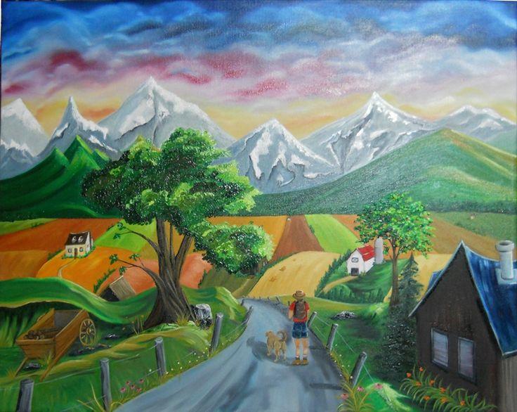 Par delà les collines, Huile sur toile www.helenelatour.com