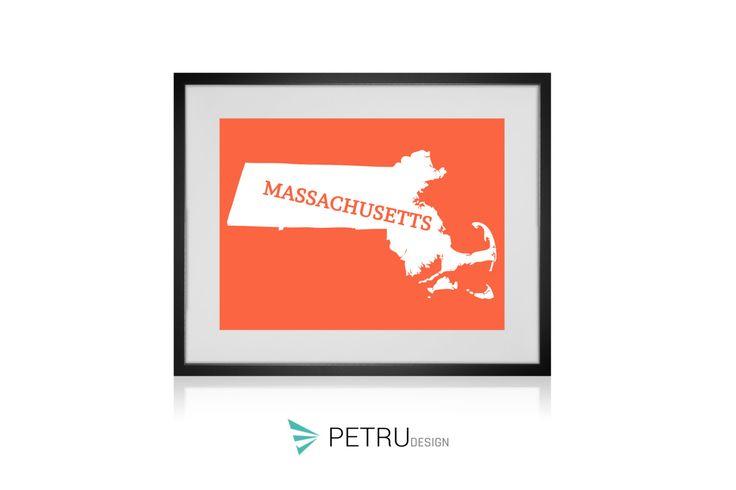 Massachusetts print - Massachusetts art - Massachusetts poster - Massachusetts wall art - Massachusetts printable poster - Massachusetts map by Exit8Creatives on Etsy