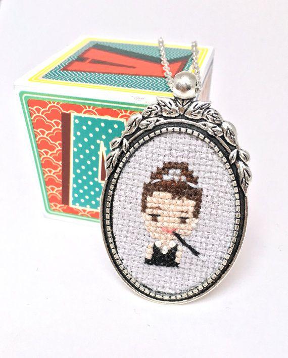 Audrey Hepburn necklace Cross stitch necklace by otterlydesign