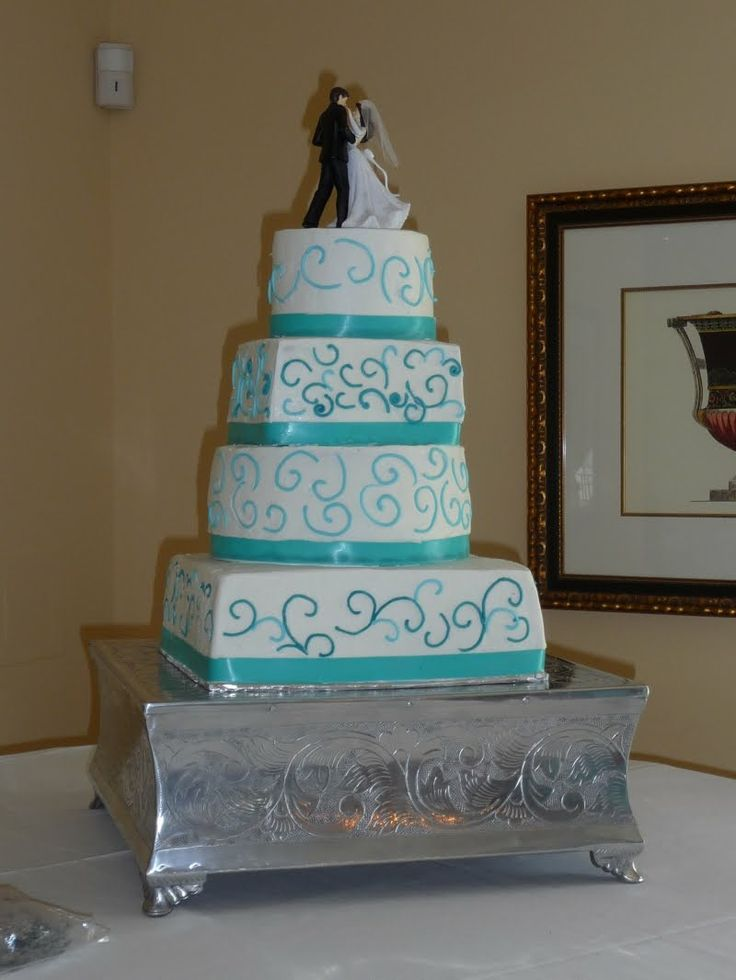 teal wedding cakes   Icing On Top -- Cakes for Every Occasion: Teal Ribbon Wedding Cake