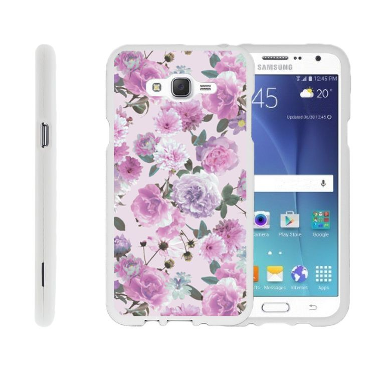 Galaxy J7 Case SNAP SHELL Hard White Plastic Case with Non Slip - Pink Purple Flower