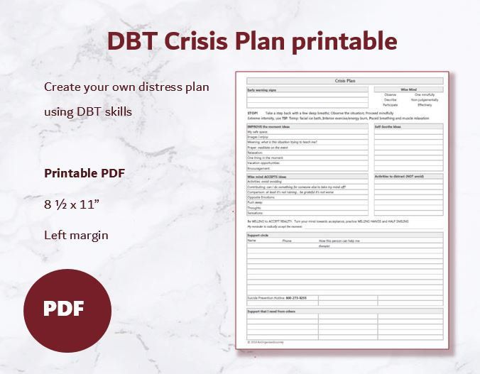 Dbt Crisis Plan Printable Etsy Dbt Skills Dialectical Behavior Therapy Dbt