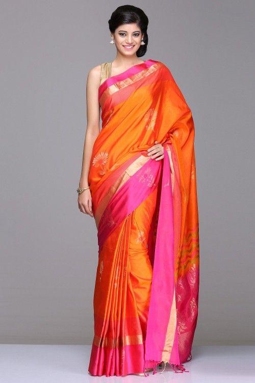 Orange Soft Silk Saree With Gold Zari Floral Motifs & Pink Border And Gold Zari Woven Pallu With Colorful Wave Stripes