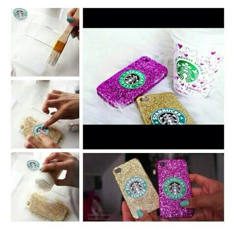 Diy phone case: glue, add glitter, a label or printout. Let it dry
