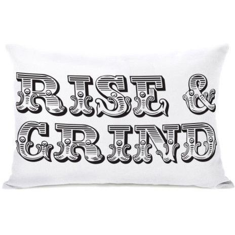 "Rise & Grind"" Indoor Throw Pillow by OneBellaCasa, 14""x20"